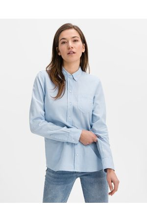 GAP Fitted Boyfriend Oxford Shirt Blue