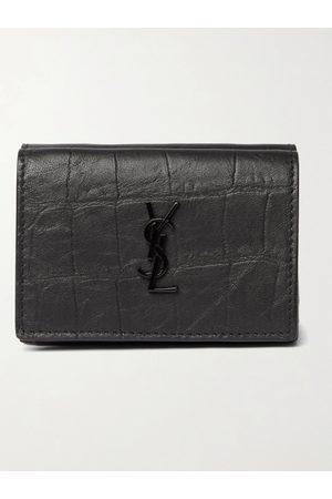 Saint Laurent Homem Bolsas & Carteiras - Logo-Appliquéd Croc-Effect Leather Trifold Wallet