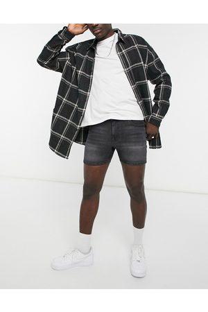 ASOS Skinny denim shorts in washed black in shorter length