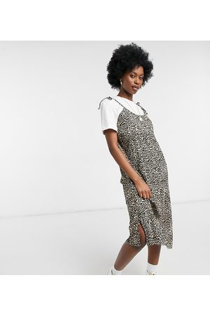 Native Youth Two in one tie shoulder midi dress in leopard plisse with t-shirt-Brown