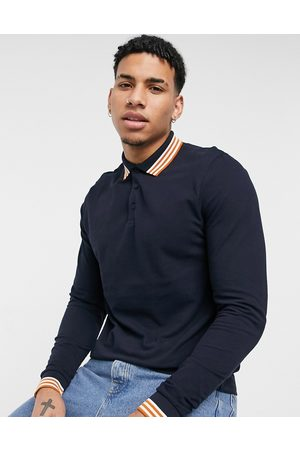 ASOS Organic long sleeve pique polo with contrast tipping in navy