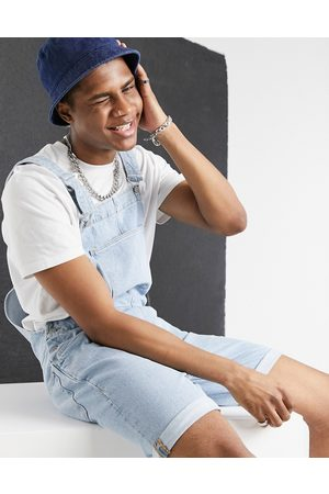 ASOS Relaxed denim dungaree shorts in light stone wash blue