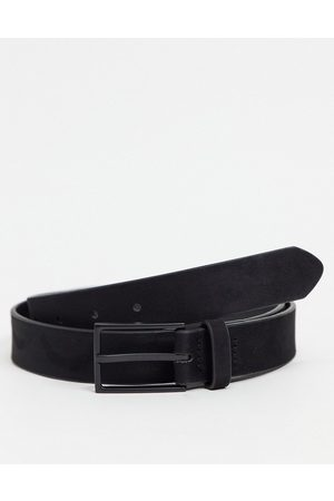ASOS Slim belt in black faux suede with matte black buckle detail