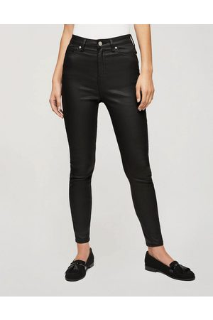 Miss Selfridge Lizzie coated high waist skinny jeans in black
