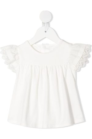 Chloé Embroidered-edge ruched-detail blouse