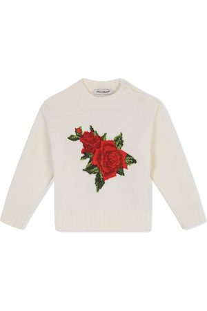 Dolce & Gabbana Bebé Tops de Cavas - Cross-stitch design jumper