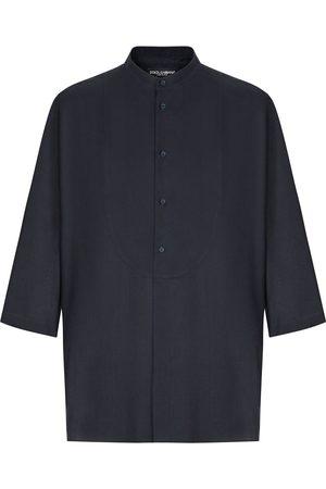 Dolce & Gabbana Cropped-sleeve collarless shirt