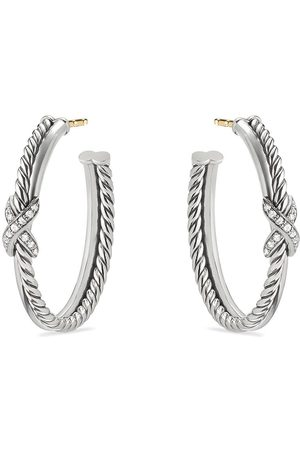 David Yurman X hoop diamond earrings
