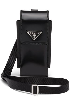 Prada Homem Phones - Triangle-logo leather phone case