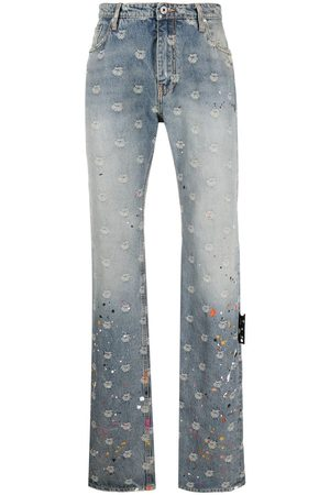 OFF-WHITE Homem Retos - Logo-jacquard paint-splatter jeans