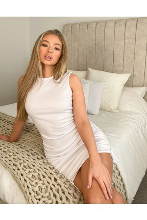 Public Desire Ribbed ruched mini beach dress in white