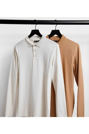 ASOS Tall organic long sleeve muscle fit polo save-Multi