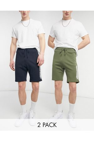 Jack & Jones Jack and Jones 2 pack jersey shorts in navy and dusty olive-Multi