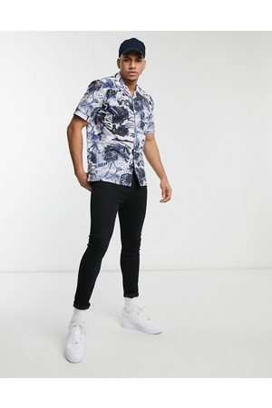 Paul Smith All over printed short sleeve shirt in blue