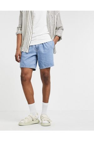 ASOS DESIGN Slim lightweight denim shorts in mid wash with double pleat-Blue