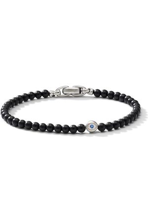 David Yurman Sterling , onyx and sapphire evil eye spiritual bracelet