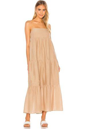 L'Academie The Kiyama Maxi Dress in - Tan. Size L (also in M, S, XL, XS, XXS).