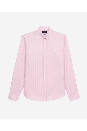 The Kooples Homem Formal - Flowing white and pink shirt with motif