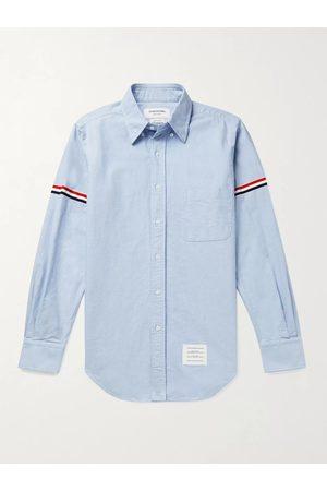 Thom Browne Homem Casual - Button-Down Collar Grosgrain-Trimmed Cotton-Oxford Shirt