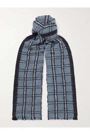 Loro Piana Homem Cachecóis & Echarpes - Checked Linen and Cashmere-Blend Tweed Scarf