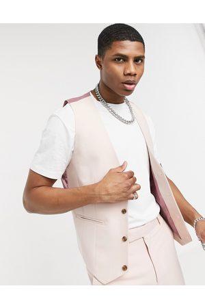 ASOS Wedding skinny suit waistcoat in rose-Pink