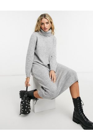 ONLY Knitted midi jumper dress with roll neck in grey