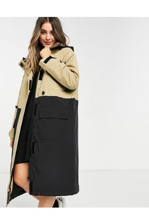 ASOS Longline parka coat with panel detail in stone-White