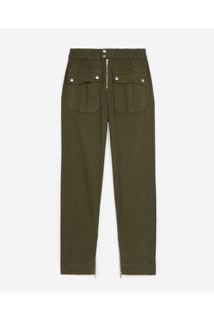 The Kooples Senhora Calças Cargo - High-waisted khaki pants in linen