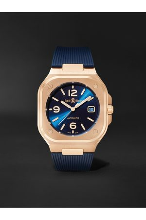 Bell & Ross Homem Relógios - BR 05 Gold Automatic 40mm 18-Karat Rose Gold and Rubber Watch, Ref. No. BR05A-BLU-PG/SRB