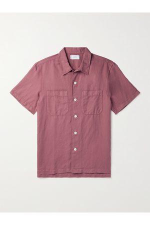 Mr P. Homem Casual - Garment-Dyed Cotton and Linen-Blend Shirt