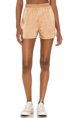 Frankies Bikinis Fifi Silk Boxer in - Metallic Gold. Size L (also in XS, S, M).