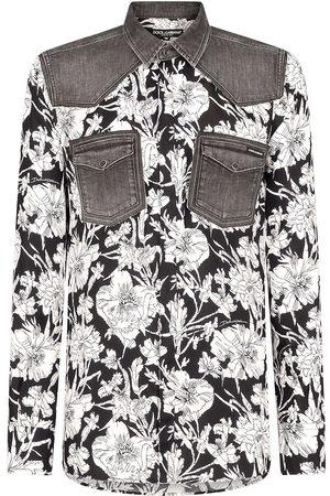 Dolce & Gabbana Homem Formal - Floral-print panelled shirt