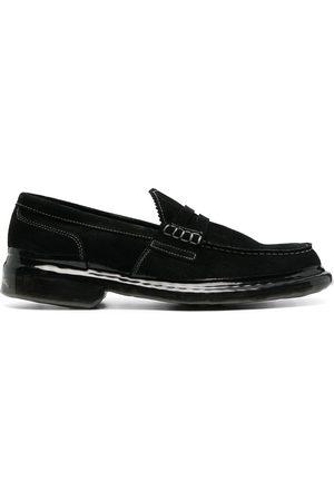 Premiata Crossover-strap suede loafers