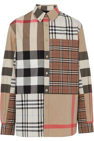 Burberry Contrast Check button-down shirt