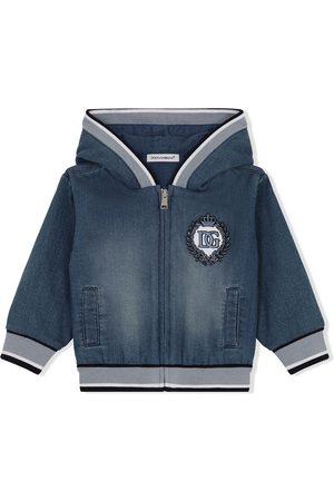 Dolce & Gabbana Menino Blusões de Ganga - Logo-embroidered denim hoodie