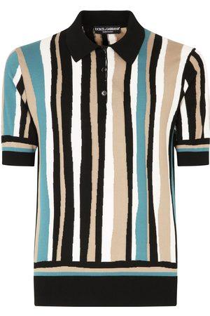 Dolce & Gabbana Vertical-stripe short-sleeve polo shirt