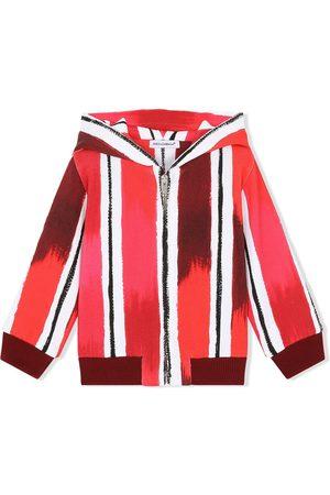 Dolce & Gabbana DG paint-effect striped zip hoodie