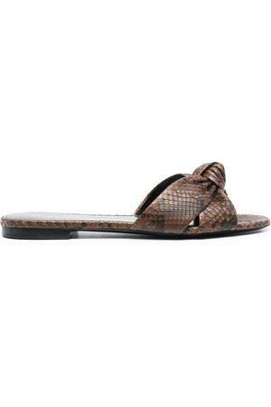 Saint Laurent Senhora Sandálias - Snakeskin effect knot sandals