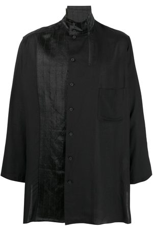 YOHJI YAMAMOTO Pleat detail velvet trim shirt