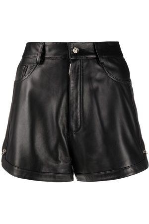 Philipp Plein Pin-embellished leather shorts
