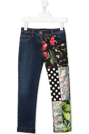Dolce & Gabbana Multi-panel logo-plaque denim jeans