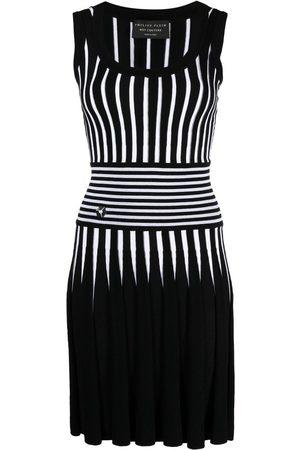 Philipp Plein Senhora Vestidos Casual - Stripe-print knitted short dress