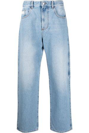 GCDS Homem Retos - Logo-patch straight-leg jeans