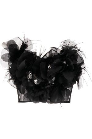 LOULOU Senhora Caicais - Strapless feather-detail top