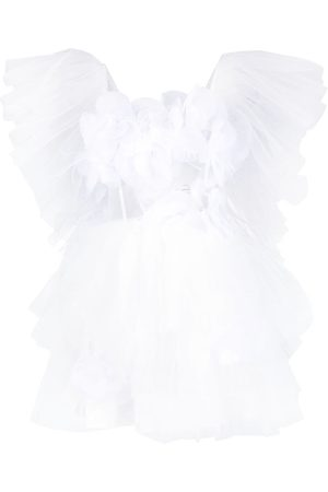 LOULOU Floral appliqué tulle mini dress