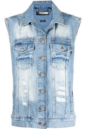 Philipp Plein Senhora Coletes - Logo patch denim vest