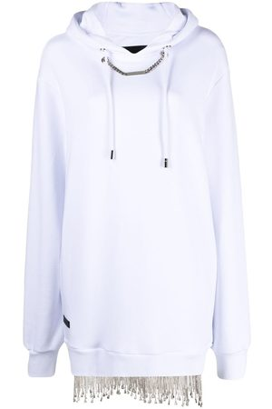 Philipp Plein Senhora Camisolas com capuz - Crystal-embellished sweatshirt dress