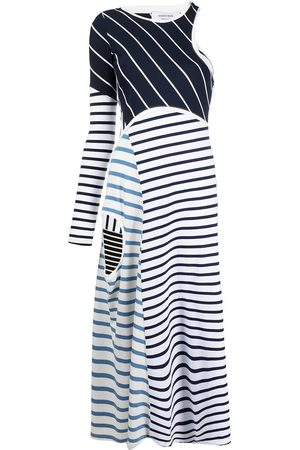 Marine Serre Striped cut-out asymmetric dress