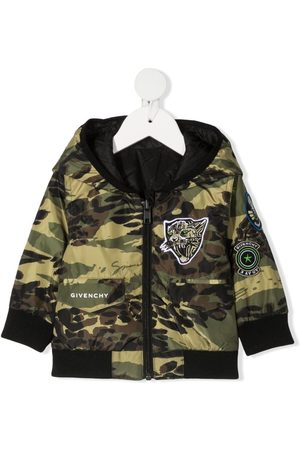 Givenchy Bebé Casacos - Camouflage-print hooded jacket