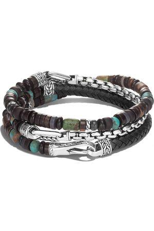 John Hardy Homem Pulseiras - Classic Chain silver beads triple wrap bracelet